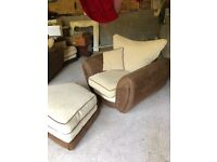 2 Large Chairs and Foot stool beige and brown suede effect with 4 cushions good condition