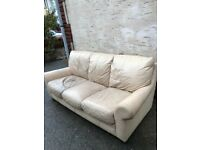 Cream Leather 3-seater Sofa, Settee, Couch, Chair - Offers considered