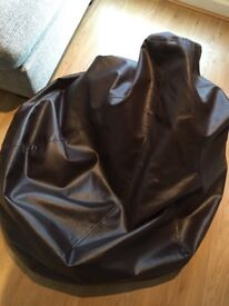 Black bean bag with back support