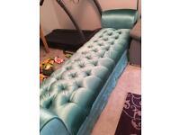 Super comfy custom made double sided velvet chaise.