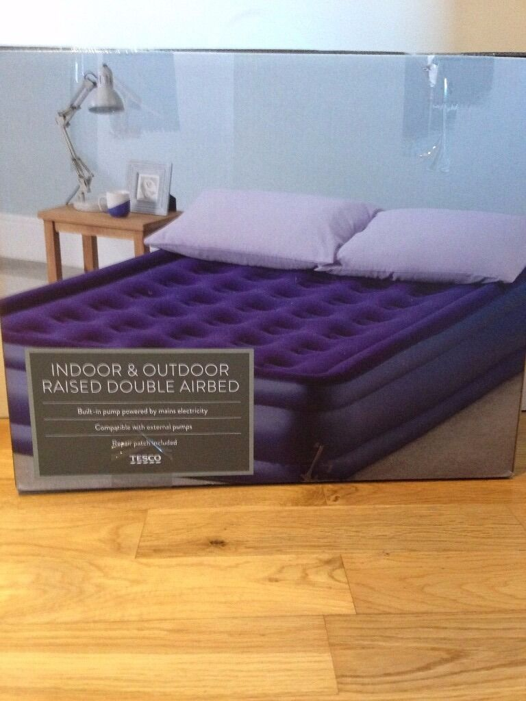 Indoor And Outdoor Tesco Raised Double Airbed With Electric Pump