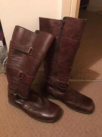 Womens Brown Leather Boots size 6