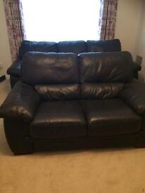 Dark brown 3 seater/sofa and 2 seater settee