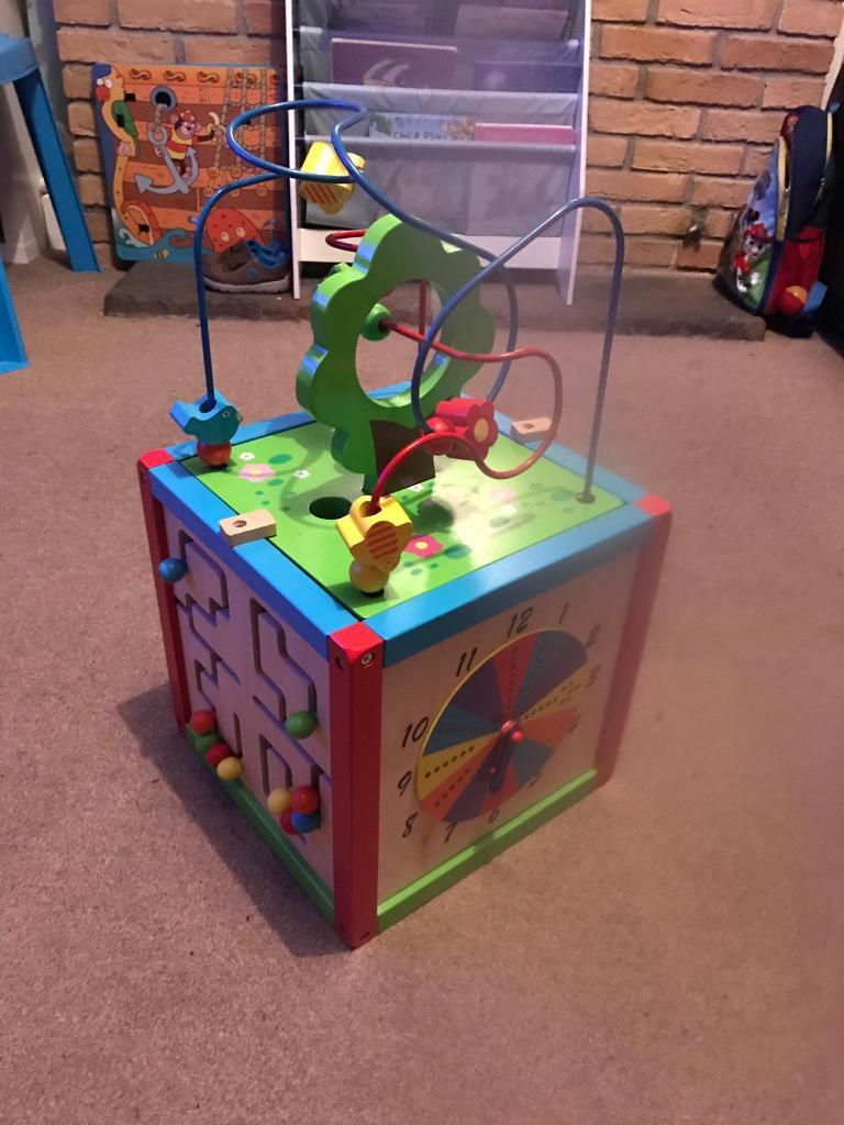 Wooden interactive play cube