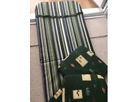 Garden lounger cushion and garden seat cushions.