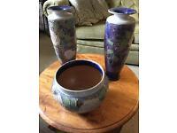 Royal doulton pair vases & 1 bowl