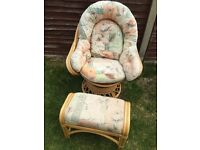 Brand New Bamboo Cane swivel chair and foot stall