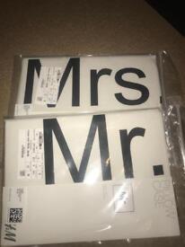 BRAND NEW MR&MRS Pillow case