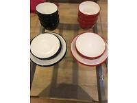 John Lewis Crockery set - Red and White/Black and White