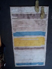 Luxurious Teal & Yellow Striped Hand Tufted Soft Polyester Rug