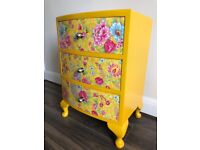 Upcycled spray-painted queen ann chest of drawers