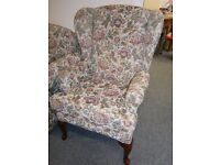 Beautiful quality and condition HSL two seater drop arm sofa with matching pair of wing back chairs
