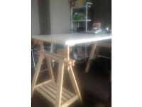 """Ikea Finnvard """"Architechts"""" Table, natural wood legs, white top"""