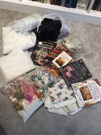 Big joblot of craft books, oddments, materials and edgings