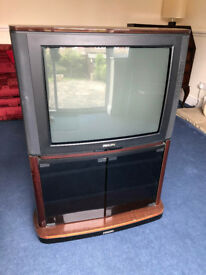 """Philips 25"""" Colour TV and cabinet stand"""