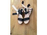 Chloe Leather Strap Espadrilles Sandals UK7 EU40