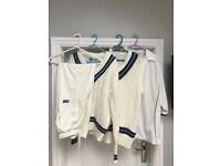 Full set of cricket whites (Men's large, 34 waist, 40-42 chest)
