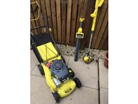 Challenge Petrol Lawnmover , Strimmer & hedge trimmer (battery powered)