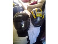 2 Motorcycle Helmets size L FM and NITRO racing
