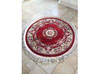 Red circular rug.