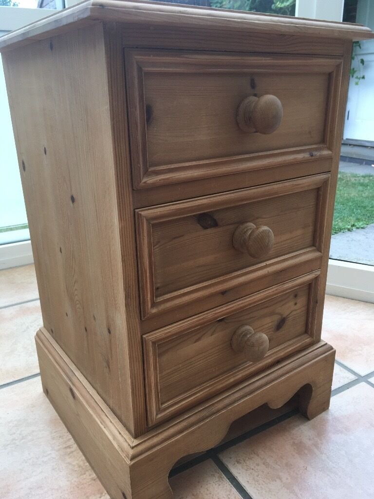 Pine bedside tablein Chichester, West SussexGumtree - Pine bedside table with 3 drawers Solid pine bases to drawers Originally from Whatnots Traditional Pine collection Dimensions 41 x 64 x 38cm (W x H x D)