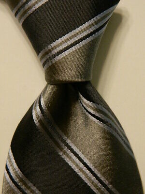 IKE BEHAR Men's 100% Silk Necktie USA Designer STRIPED Grays Classic GUC