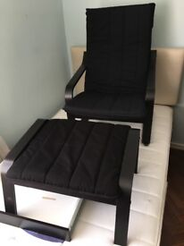 Ikea poang chair with foot rest black cover/dark brown wood excellent condition
