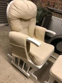 White wood and cream rocking nursing chair
