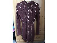 """Size 10 Burgundy Oh Polly """"Tell Me About it Stud"""" mini dress"""