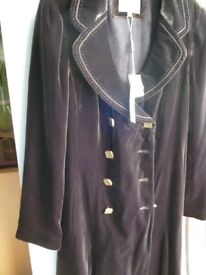 Long velvet coat from Per Una at M & S colour chocolate size 10 never worn