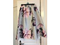 Size 10 silver/grey Luxe skirt with flower print