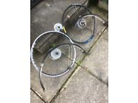 """26"""" mtb Q/R wheels and mudguards, 7 and 9 speed cassettes. Discs in excellent condition."""