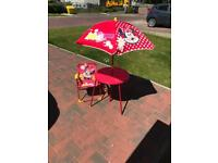 Minnie Mouse Table, 2 Chairs and Parasol