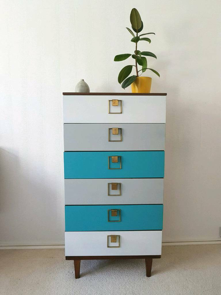 Retro Mid Century Blue White Chest Of Drawers Tallboy Vintage 1960s