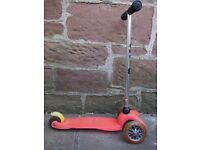 MINI MICRO SCOOTER - CHILDRENS 3 WHEEL SCOOTER WITH T-BAR HANDLE, RED, GC, AGES 3-5 YEARS