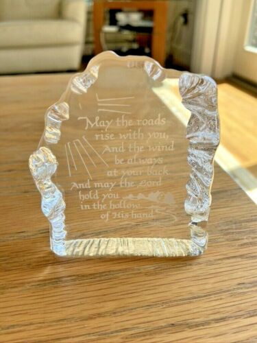 """Clear Glass """"May the Roads Rise"""" Celtic Gaelic Prayer Desk Table Etched Plaque"""