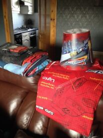 Cars bedding, curtains and light shade
