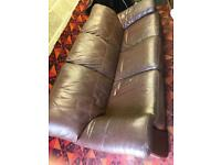 Free 3 seater brown leather sofa