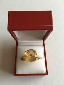 8.866ct Citrine Yellow Gold Ring. Size N