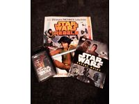 Star wars activity book, reference book and tops trading cards.