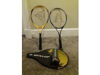 Tennis racquet x 2, 1 case and balls