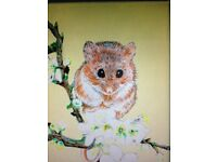 Hand painted original art of a cute mouse and a pheasant on small boxed canvases 7 x 5 inches