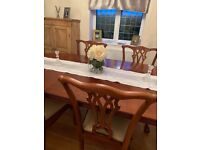 Traditional wood 6 table chairs cream seats