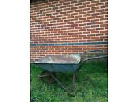 Vintage metal Wheel barrow / flower pot