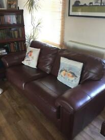 2x 3 seater real Italian leather sofas