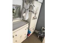 Wardrobe and chest of drawers with baby changing unit