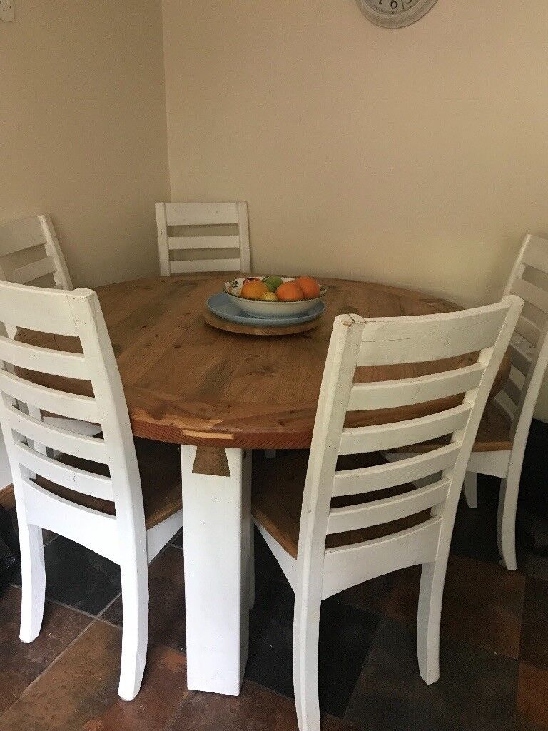 Dining Set Rustic Solid Wood Round Table 6 Chairs