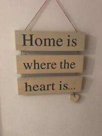 Home sign wooden