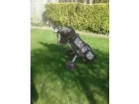Golf Clubs & Caddy Car