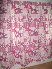 """Kids (Girls) Super Chic white/pink Curtains and Tie Backs -- professionally made 54"""" x 75"""" brand New"""